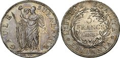 NumisBids: Numismatica Varesi s.a.s. Auction 65, Lot 575 : TORINO - REPUBBLICA SUBALPINA (1800-1802) 5 Franchi An. 10...