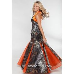 Camouflage formal shown in full camo with  Orange Net Skirt inserts.