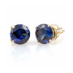 Kaye: 5mm created Sapphire 14K Yellow Gold Cast Basket Stud Earrings