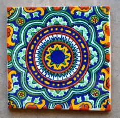 "6 Mexican Talavera Tiles handmade- Hand painted 4 ""X or 4x4, Mexican Art, Mexican Tiles, Mexican Kitchens, Talavera Pottery, Art Populaire, Tuile, Spanish Tile, Tile Art"