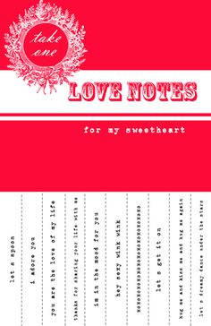 Free Printable Valentine Sweetheart Notes