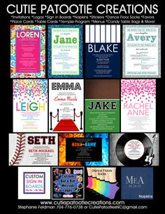 Custom Bar Mitzvah, Bat Mitzvah and B'Nai Mitzvah Invitations, Decorations, Party Logos, Personalized Napkins, Dance Floor Socks, Stickers, Labels, Vinyl Banners, Sign in Boards and more!