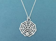 Web Spider Silver Necklace Big Pendant Necklace Birthday by Gliget
