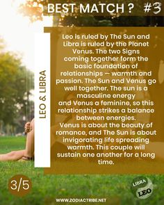 Leo: July 23 – August 22   Libra: September 23 – October 22 What are the strengths of your relationship? Do you share in these 5 facts making your partnership unique? Leave a comment. #zodiacsigncompatibility.net   #LeoandLibracompatibility   #Leocompatibility   #Libracompatibility   #Leolove   #Libralove   #compatibility   #love   #bestmatch   #theone   #starsign   #lovematch   #partner   #couple   #relationship   #horoscope  #zodiacsign