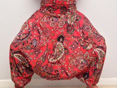 Tall 45 Red Paisley print Organic cotton printed by theBilvatree Yoga Harem Pants, Paisley Print, Organic Cotton, Porn, Skinny, Printed, Awesome, Red, Closet