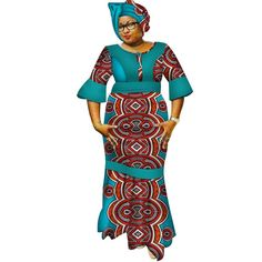 Image of New Dashiki Women Long Dresses with Headscarf Bazin Riche African Patchwork Dresses for Women African Style Clothing 1 Latest African Fashion Dresses, African Dresses For Women, African Print Dresses, African Print Fashion, Africa Fashion, African Attire, African Women, African Fashion Traditional, Traditional Outfits