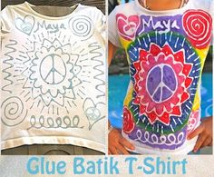 "Glue Batik t-shirt. Blue Elmer's Gel Glue and Acrylic Paint. Katie had fun doing this and wears her shirt as a night shirt. we watched a video on how Batik is done ""for real"" in several Asian countries. Summer Crafts, Fun Crafts, Crafts For Kids, Arts And Crafts, Diy Art Projects, Projects For Kids, Design Projects, Diy Glue, Elmer's Glue"