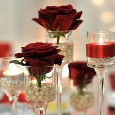 69 ideas for wedding centerpieces pearls tea lights Red Wedding Centerpieces, Anniversary Centerpieces, Wedding Decor, Pearl Centerpiece, Romantic Wedding Receptions, Diy Wedding Flowers, Candle Centerpieces, Budget Wedding, Wedding Themes