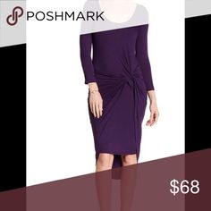 "⭐️Vanity Room Knot Dress ⭐New Arrival! Eggplant in color! Very classy look for business or pleasure!  A scoop neck with 3/4 length sleeves has banded trim.  Approximately 40"" front and 50"" back. 96% rayon, 4% spandex. Machine wash. Vanity Room Dresses"