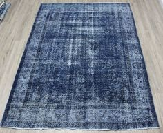 Your place to buy and sell all things handmade Blue Rugs, Floor Rugs, Colorful Rugs, Vintage Rugs, Bohemian Rug, Area Rugs, Navy Blue, Dining Room, Flooring