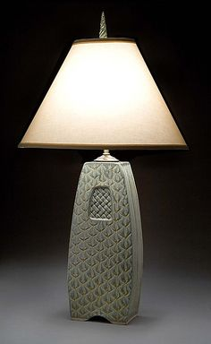 Ceramic Table Lamp Woven Pattern - Jim and Shirl Parmentier