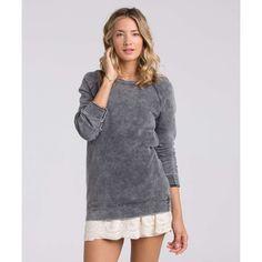 Billabong Women's Right Away Fleece Sweatshirt ($45) ❤ liked on Polyvore featuring tops, hoodies, sweatshirts, fleece tops, off black, fleece crewneck sweatshirt, black sweat shirt, oversized sweatshirt, sweatshirt hoodies and black crewneck sweatshirt