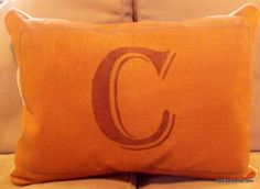 "DIY Stencil Painted Pillow - I'm thinking a gold ""J"" on a pale blue fabric."