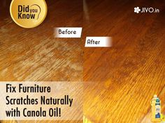 ‪#‎DidYouKnow‬ Fix Furniture Scratches Naturally with ‪#‎CanolaOil‬! This solution consisting of JUST 3 ingredients is an excellent to remove the wooden scratches naturally. Take a equal quantity of lemon juice, Vinegar and canola oil. Mix all the ingredients well and rub it into the wood. You need not wipe it as the wood just soaks it. Share & Spread!