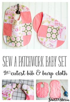 I was recently in need of a quick baby shower gift, so I whipped up this adorable dribble bib and burp cloth set - with patchwork! (because patchwork makes everything sweeter! Burp Cloth Patterns, Burp Cloth Set, Sewing Patterns Free, Free Sewing, Free Pattern, Pattern Sewing, Tutorial Sewing, Baby Burp Cloths, Pattern Ideas