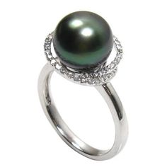 black green pearl ring with diamond accents