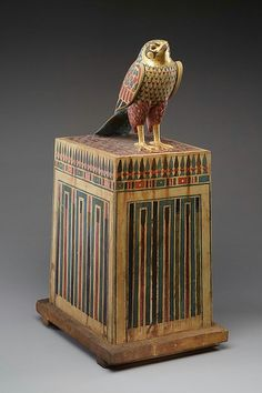 Falcon topped box from Ptolemaic Period of Egypt.