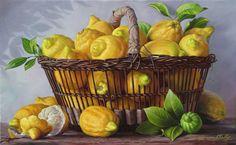 by Gerard Fally (artist) Lemon Painting, Fruit Painting, Painting On Wood, Botanical Art, Botanical Illustration, Decoupage, Fruits Photos, Oranges And Lemons, Still Life Art