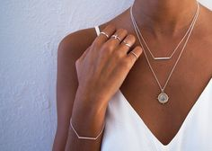 Fine bar necklace | Olivia coin necklace  www.gmssilver.com