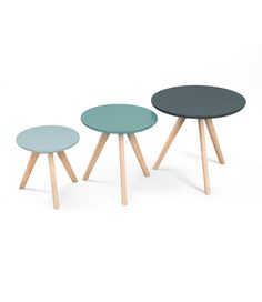3 Orion Side Tables in Blue. £99. MADE.COM