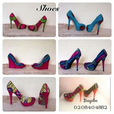 Shoes, shoes, beautiful shoes made with African Print. Ankara or Ntuma.