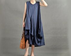 New Style Women Soft Cotton Linen Dress/Dark Navy Dress/Maxi Daily Dress/Night Go Out Party Clothes/Vest/Korea Style Dress/Loose Fit Dress