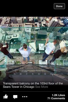 Chicago- Willis Tower 103rd Floor, I want to go here at night so bad.