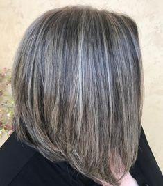 50 Gray Hair Styles Trending in 2020 - Hair Adviser - Medium Thin Hair Bob with Gray Balayage - Medium Thin Hair, Bobs For Thin Hair, Medium Hair Styles, Curly Hair Styles, Grey Hair Over 50, Long Gray Hair, Grey Hair Bob, Highlight Bob, Gray Balayage