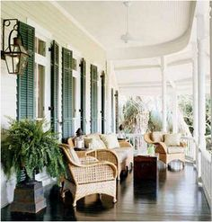 porch, southern, piazza, shutters, wicker