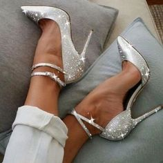 Style Silver Sparkly Heels Ankle Strap Stiletto Heel Pumps for Work, Formal event, Ball Fancy Shoes, Pretty Shoes, Beautiful Shoes, Beautiful Dresses, Cute Shoes Heels, Hot Shoes, Beautiful Gorgeous, Shoe Boots, Stilettos