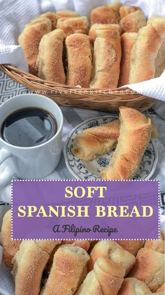 Soft, fluffy Spanish Bread filled with butter and sugar then laid in breadcrumbs. A bread like no other and definitely every Filipinos favorite merienda. Filipino Bread Recipe, Filipino Dishes, Filipino Desserts, Filipino Recipes, Soft Bread Recipe, Cuban Recipes, Filipino Food, Bread Recipes, Baking Recipes