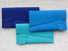 ArtAK Royal BLUE Wool Felt Clutch Document Holder or by ArtAK, $35.00