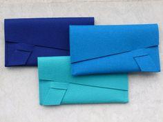 ArtAK Royal BLUE Wool Felt Clutch Document Holder or by ArtAK, $35.00