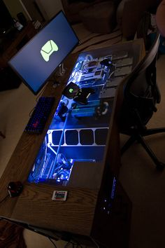 Embedded games console and computer in desk