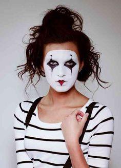 pantomime make-up instructions woman costume ideas carnival halloween Halloween Makeup Clown, Mime Makeup, Up Halloween, Halloween Cosplay, Makeup Art, Halloween Costumes, Halloween Design, Mime Costume, Costume Carnaval