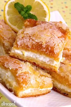 "Lemon Cream Cheese Bars | ""If you love lemon this is the one for you! Crispy crust and wonderful filling."" -Lilcat"