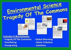 Tragedy of the Commons Worksheet Packet - Human Impact