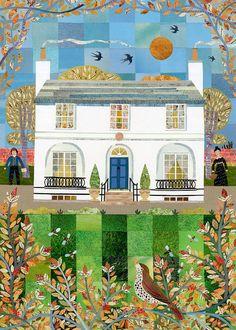 John Keats Print - Keats House - Autumn - Naive Art - Garden - English Romantics - Writers' Houses - Poetry - Booklovers - Poem - Readers