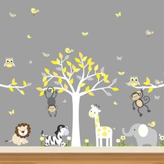 Yellow and Grey Jungle Decal Set - Two Branches, a Tree - Printed Fabric Wall Decal material - lion, zebra, giraffe, elephant and monkeys!