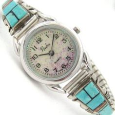 Women's Turquoise Inlay Sterling Watch   Opal Watch Face   Four Corners USA Native American Jewelry