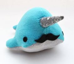 Narwhal with a mustache and glittery horn!!!..I must have this!!!!