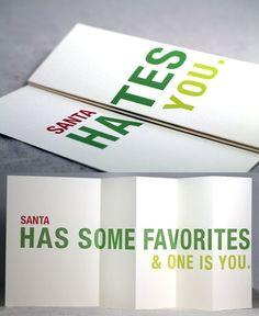"""Santa Hates You."" Fold Out Christmas Humor Card   Community Post: 19 Funny & Festive Etsy Christmas Cards"