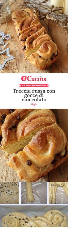 Treccia russa con gocce di cioccolato della nostra utente Simona. Unisciti alla nostra Community ed invia le tue ricette!