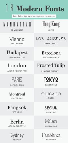 Free Font Collection: 18 Modern Fonts