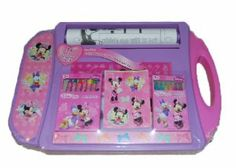 """Disney Minnie Mouse Bow-tique Portable Rolling Paper Art Desk by Disney. $11.79. 6 Markers with box. Disney Minnie Mouse Bow-tique Portable Art Desk (14""""x10""""1.5""""). 24 ft Coloring sheets. 8 Crayons with box. 2 Stickers sheets. Portable Rolling Paper Art Desk"""