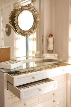 vanity dressing area, jewelry storage