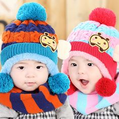 f7a4b1364f62 Animal Baby Hats and Neck Scarf Set with Bee Style for Kids Boys Girls Very  Warm