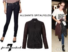 349e10c1069 Fashion Trends  Kristen Stewart s All Saints Rixey Leather Bomber And 7 For  All Mankind Skinny Jeans