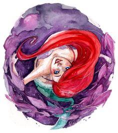 Ariel the little mermaid watercolor fan art sketch
