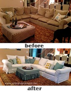White Sectional slipcover:: Before and After by Kristi~The Slipcover Girl at pinkandpolkadot.net